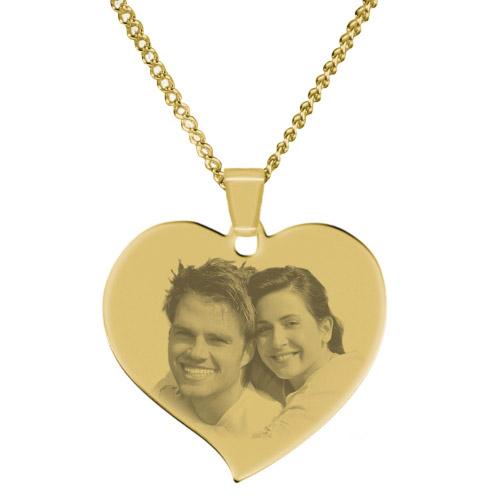 Halskette mit Gravur großes Herz - gold