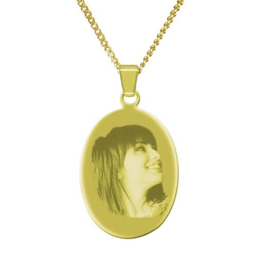 Halskette mit Gravur Oval - gold