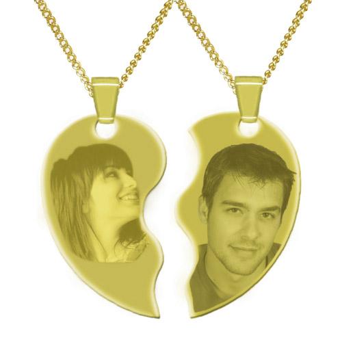 Halskette mit Gravur Herz 2-tlg - gold