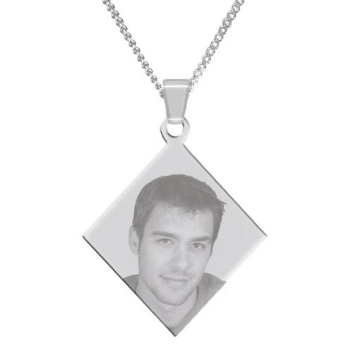 Halskette mit Gravur Raute - silber