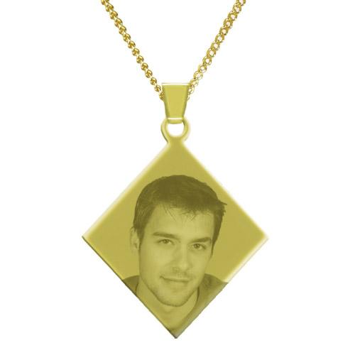 Halskette mit Gravur Raute - gold