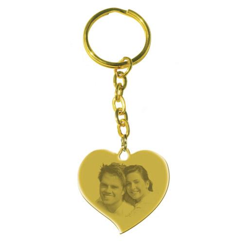 Schlüsselanhänger mit Gravur großes Herz - gold