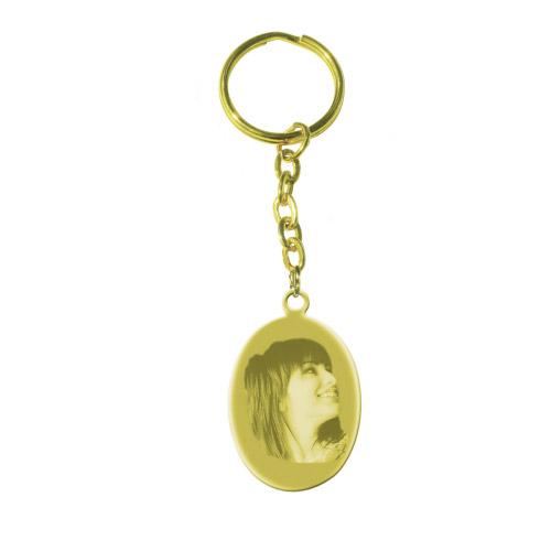 Schlüsselanhänger mit Gravur Oval - gold