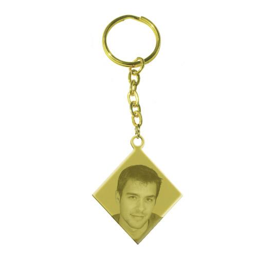 Schlüsselanhänger mit Gravur Raute - gold