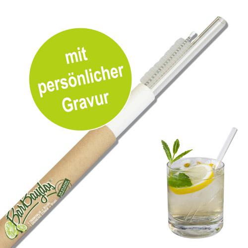 1 Glastrinkhalm mit persönlicher Gravur 150 mm