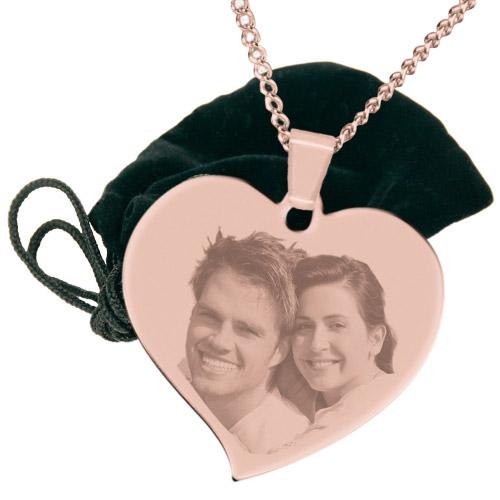 Halskette mit Gravur großes Herz - rosé-gold