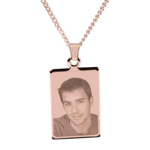 Halskette mit Gravur Rechteck - rosé-gold