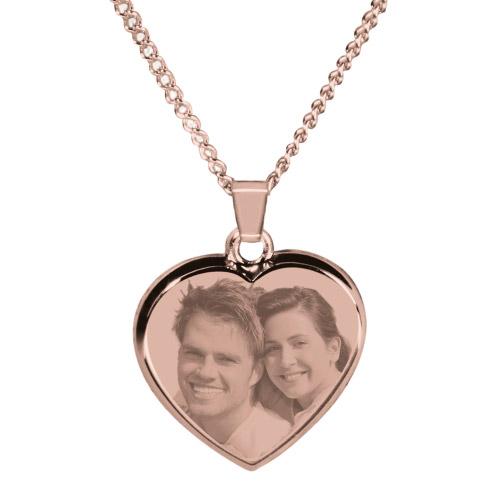 Halskette mit Gravur Herz - rosé-gold