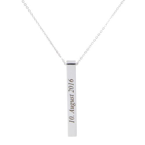 Halskette mit Gravur silber vertikal