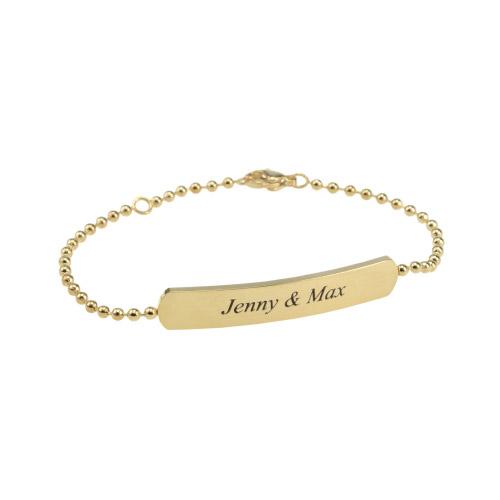 Gravur Armband Kugelkette Gold