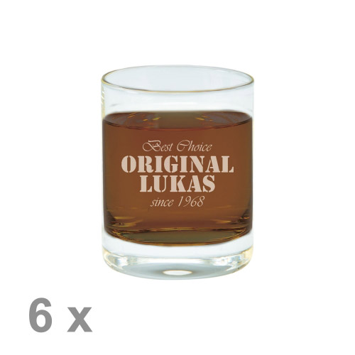 6 x Schnapsglas M mit Gravur