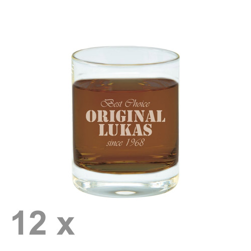 12 x Schnapsglas M mit Gravur