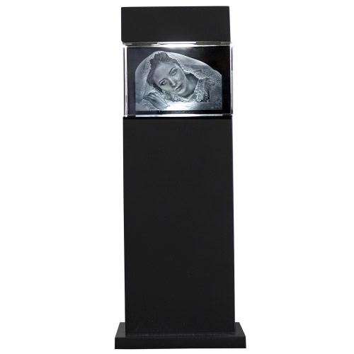 3D Glasfoto mit Leuchtstele schwarz S quer