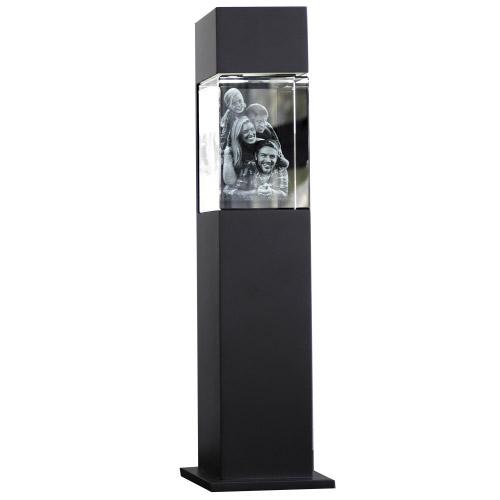 3D Glasfoto mit Leuchtstele schwarz L hoch