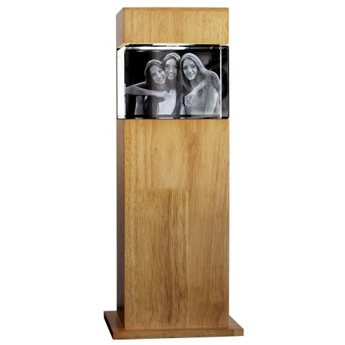 3D Glasfoto mit Leuchtstele Holz L quer