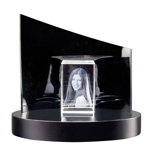 3D Glasfoto + Clarisso® Sockel - SET - 80x50x50 hoch - max. 2 Personen