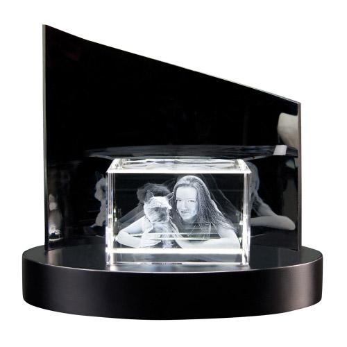 3D Glasfoto + Clarisso® Sockel - SET - 90x60x60 quer