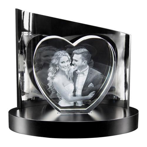 3D Glasfoto + Clarisso® Sockel SET Herz L 140x150x50