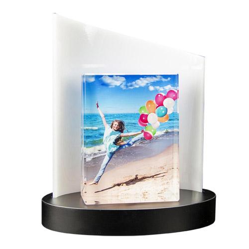 Farbiges Glasfoto Frame L + Clarisso Sockel Weiß - SET -  105x140x35 hoch