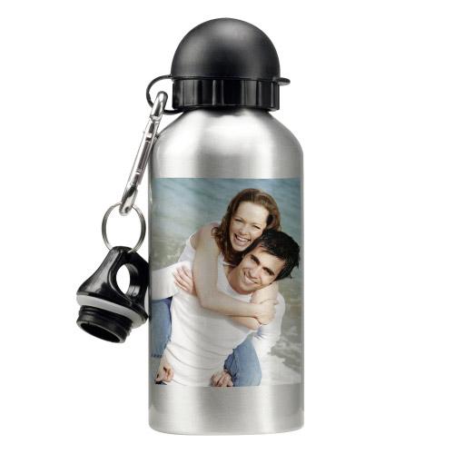 Trinkflasche mit Foto - silber