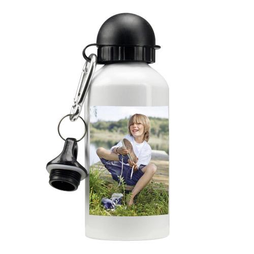 Trinkflasche mit Foto - weiß