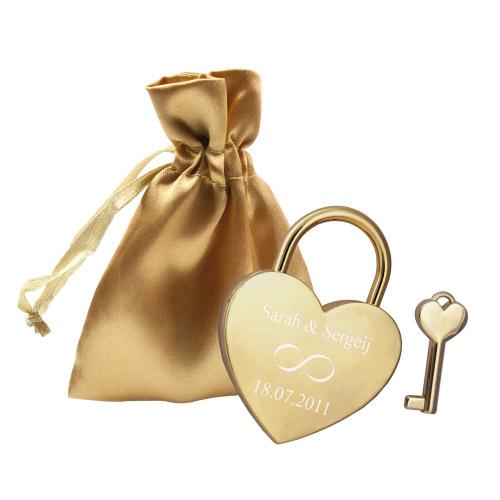Liebesschloss graviert - Herz gold