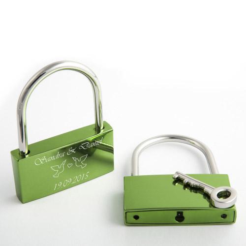 Liebesschloss L graviert - grün
