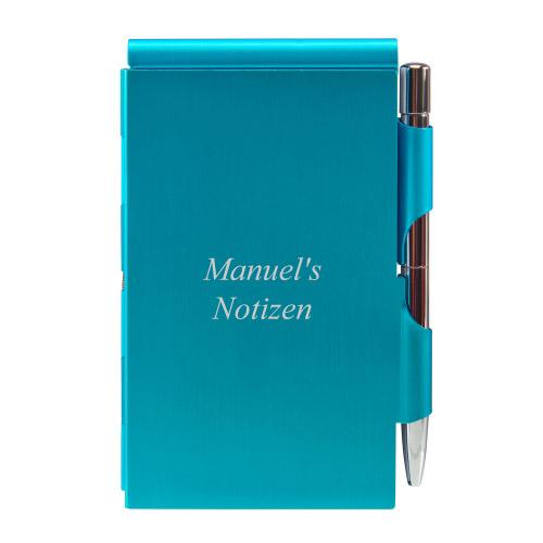 Quick Notes Alu-Notizblock blau mit Textgravur