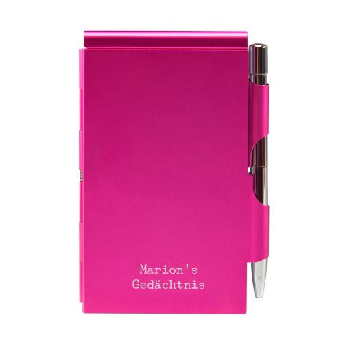 Quick Notes Alu-Notizblock pink mit Textgravur