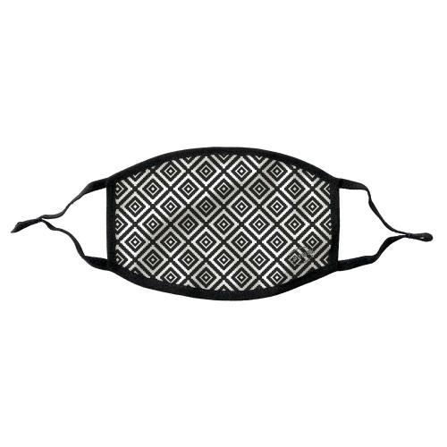 Lamask Mund-Nasen-Bedeckung ETHNO SCHWARZ-WEISS