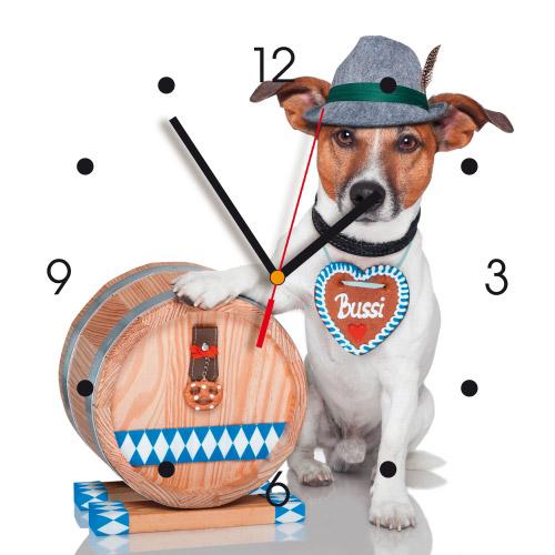 Wanduhr My Clock - Hund mit Fass