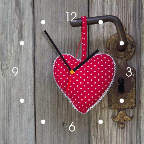 Wanduhr My Clock - rotes Stoffherz