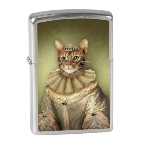 ZIPPO Feuerzeug - Katzen-Prinzessin oliv