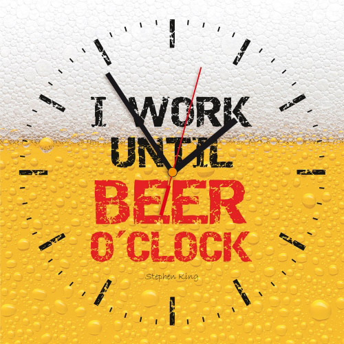 Wanduhr quadratisch - I WORK UNTIL BEER O'CLOCK