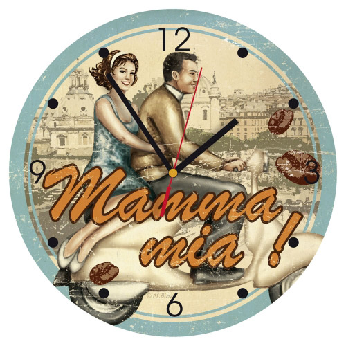 Wanduhr quadratisch - Mamma mia