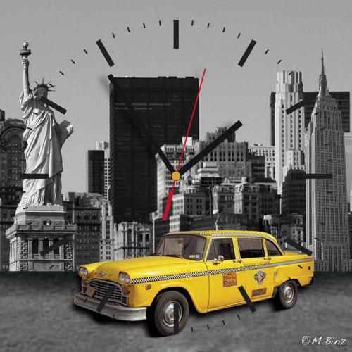 Wanduhr quadratisch - New York
