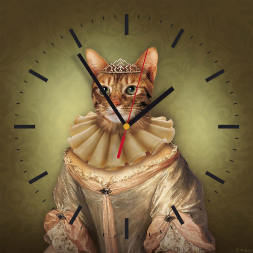 Wanduhr quadratisch - Katzen-Prinzessin oliv