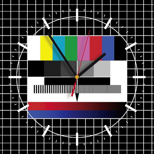 Wanduhr quadratisch - Fernseh Testbild