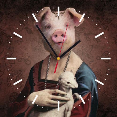 Wanduhr quadratisch - Frau Schwein