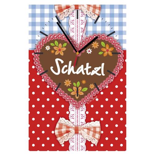 Wanduhr rechteckig - Herz Schatzl