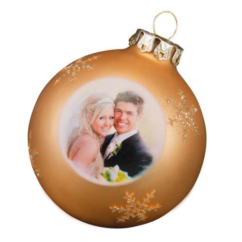 Weihnachtskugel mit Foto gold