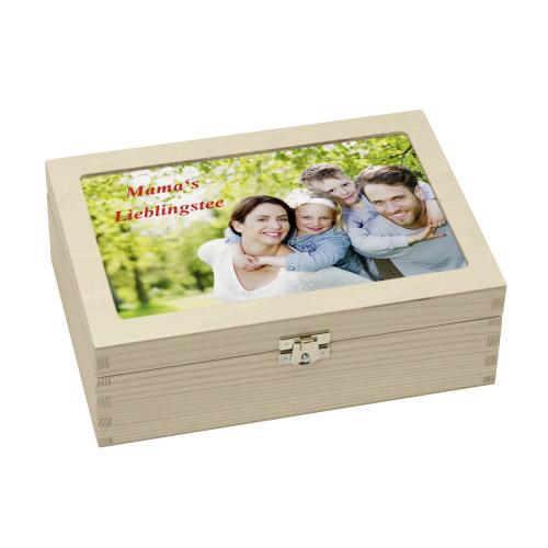 teebox aus holz mit pers nlichem foto oder wunschtext. Black Bedroom Furniture Sets. Home Design Ideas