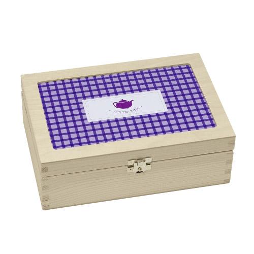 Teabox It´s Tea Time´´ - violett kariert´´