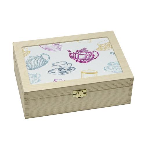 Teabox - Tassen/Kannen grafisch, pastell