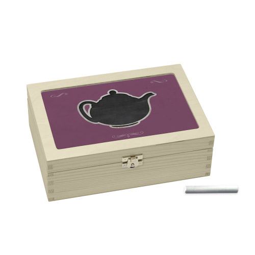 Teebox lila mit Teekannen-Motiv Teabox´´