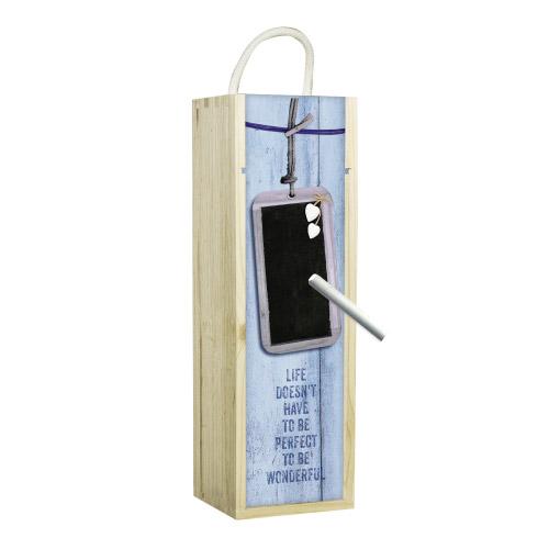 Weinbox blau mit Tafelfunktion
