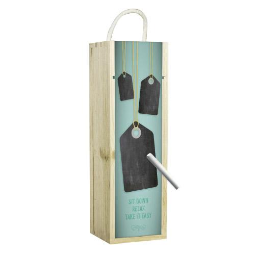 Weinbox grün mit Tafelfunktion bei Contento Geschenke-Shop