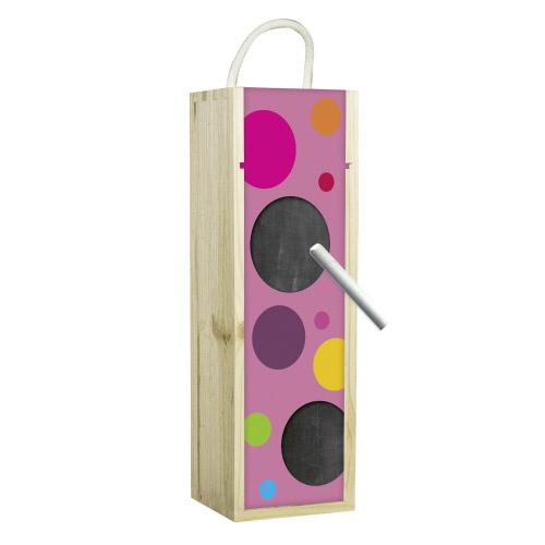 Weinbox Kreise Pink mit Tafelfunktion bei Contento Geschenke-Shop