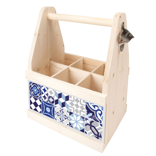 Beer Caddy MOSAIK GRAU-BLAU