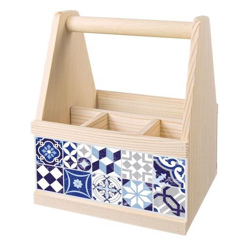 besteck caddy holz bestecktr ger mosaik blau contento. Black Bedroom Furniture Sets. Home Design Ideas